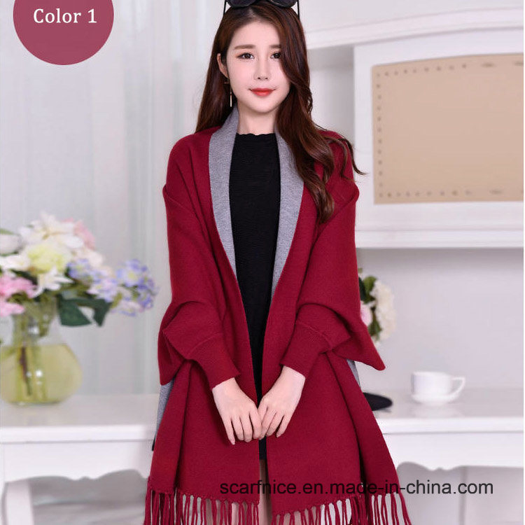 China Winter Warm Poncho Scarf Women′s Coat Luxury 2018 Sleeve