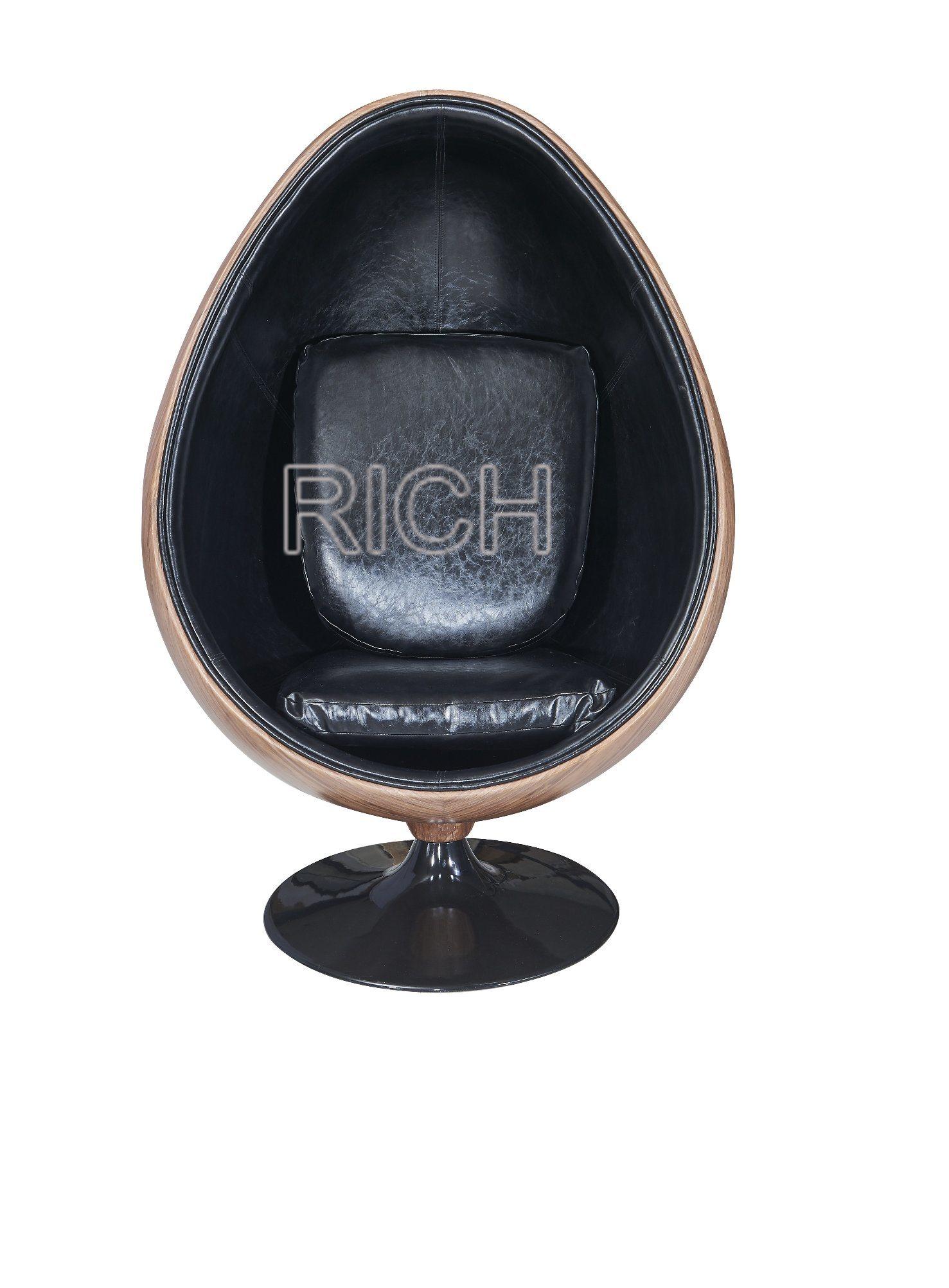China buy modern round fiberglass egg pod lounge wood veneer chair china egg shaped chair egg pod chair for sale