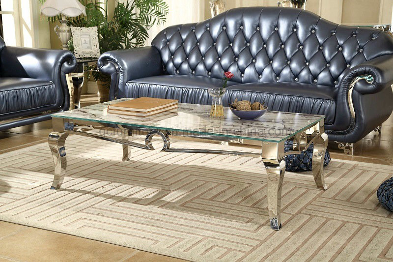 Stainless Steel Marble Top Coffee Table