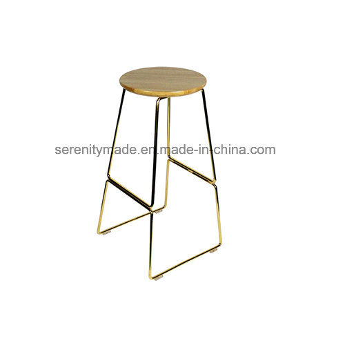 China Wholesale Furniture Metal Kitchen Stool With Solid Elm Wood