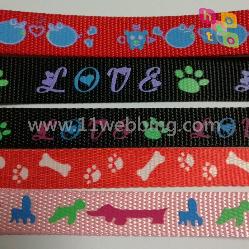 China Printed Polyester Nylon Webbing For Pet Leashes And Dog Collar