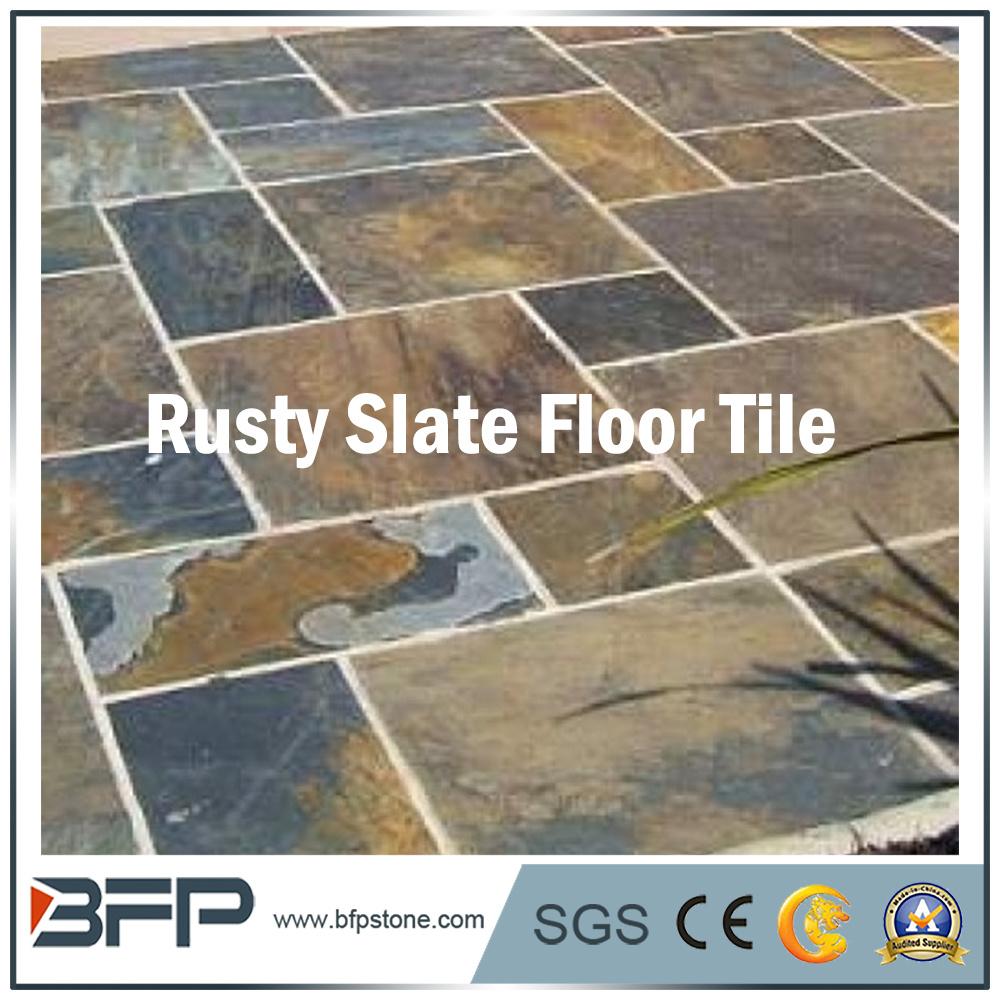 China Hot Sale Half Rusty Slate Natural Slate Flooring Tile Photos