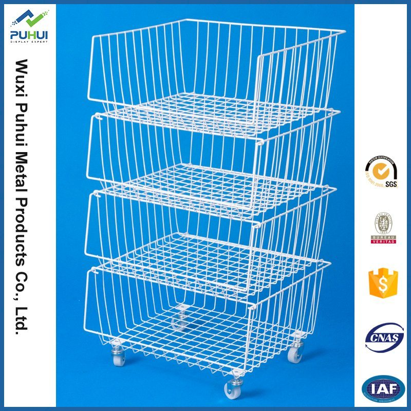 China 4 Layer Stacking Wire Basket with Wheels - China Stacking Wire ...
