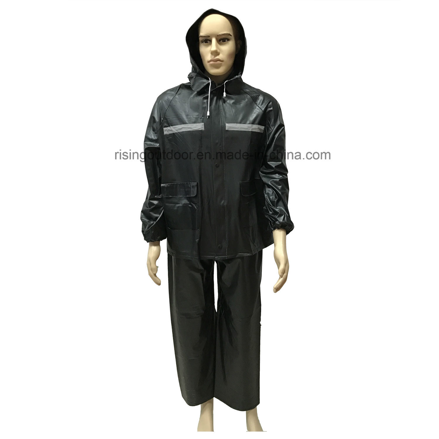meticulous dyeing processes official store big collection [Hot Item] Black PVC Biking Rainwear with Reflective for Safety
