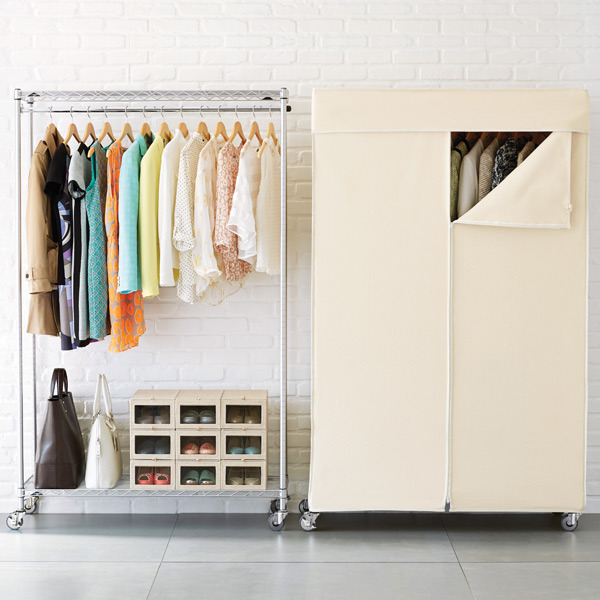 Bedroom Design Chrome Metal Wardrobe Rack with Non Woven Cover CJ12045180A2CW  - Rolling Garment Racks And Wardrobes