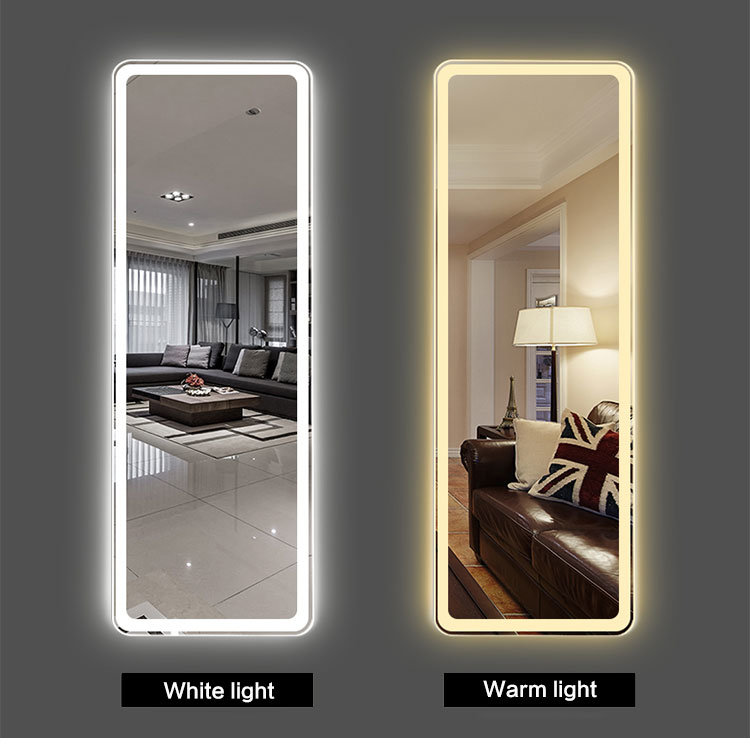 China Home Decorative Standing Leaning, White Floor Mirror With Lights