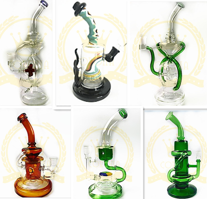 Color Recycler Glass Water Pipe 14mm Joint Ball Perc Downstem Splash Guard Black Glass Smoking Pipe
