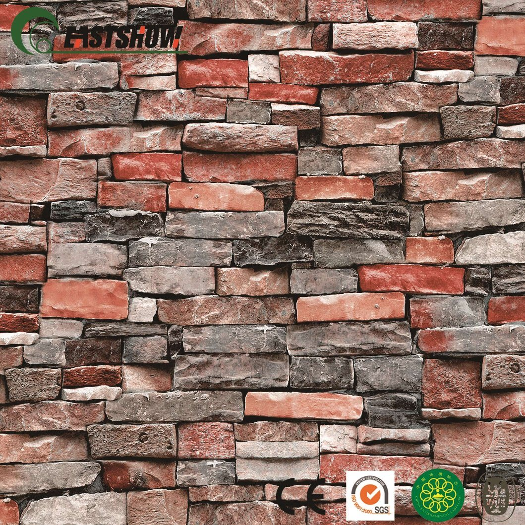 China Modern Brick Patterns Pvc Wall Paper High Quality For Home