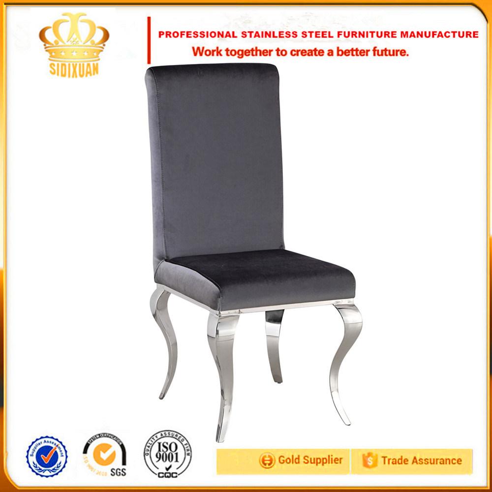 [Hot Item] Soft Velvet Fabric Bending Legs Sliver Stainless Steel High Back  Dining Room Chairs