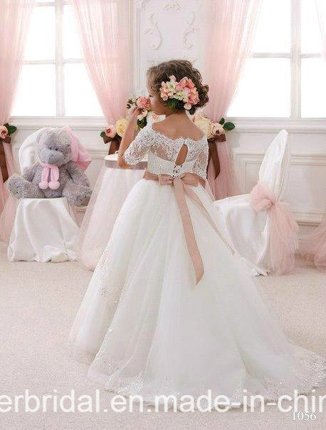 Girl′s Pageant Ball Gown Lace Wedding Flower Girl Dress F1715