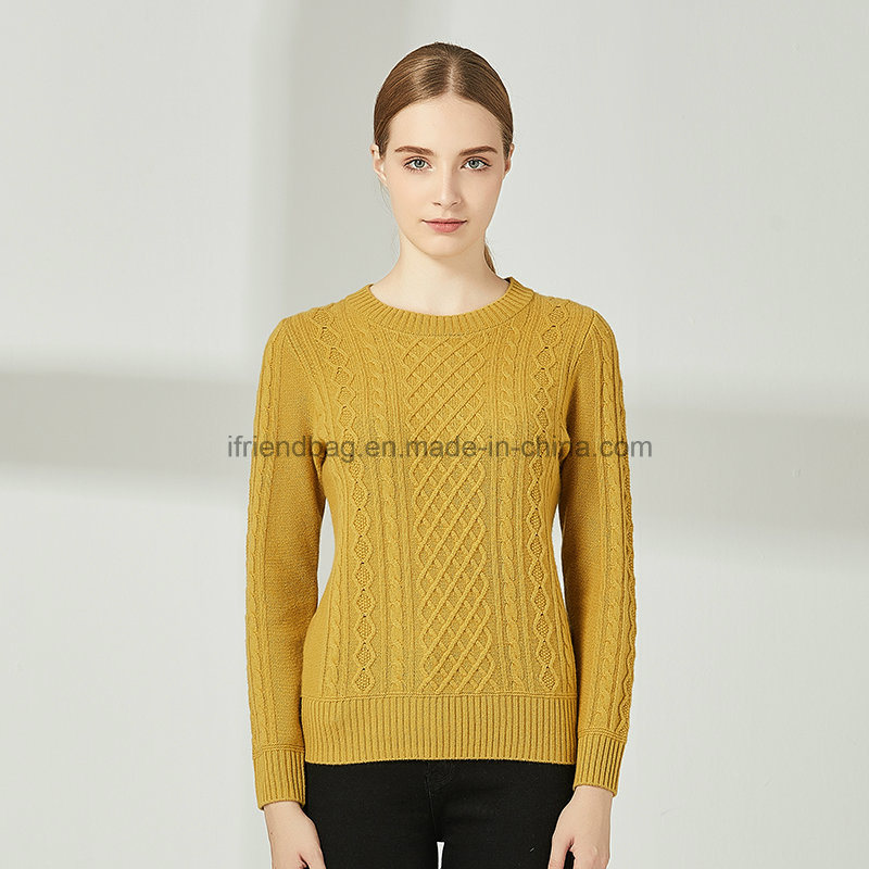 [Hot Item] 2019 New Autumn Winter Pullover Women O Neck Knitted Sweater Warm Long Sleeve 100% Cashmere Woman Sweater Twist The Style