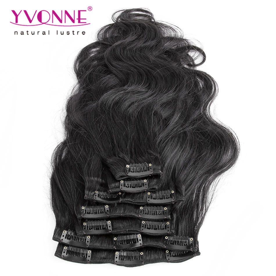 China Unprocessed Virgin Brazilian Body Wavy Clip In Hair Extensions