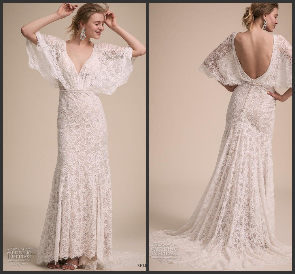 China 2019 Lace Bridal Gown V Neck Fishtail Backless Wedding Dress