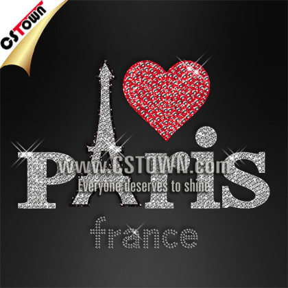 China Paris France Words Eiffel Tower Clothes Wholesale Hotfix ...