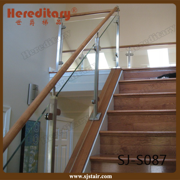 Hot Item Indoor Wood Handrail Stainless Steel Gl Stair Railing