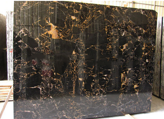 China Double Black Marble Slabs Tiles Black Gold Portoro