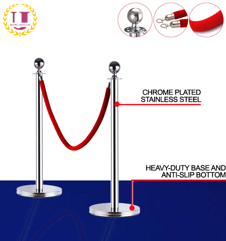 China Queue Way Plus Classic Stainless Steel Sphere Stanchions Kit China Rope Stanchion Sphere Stanchion