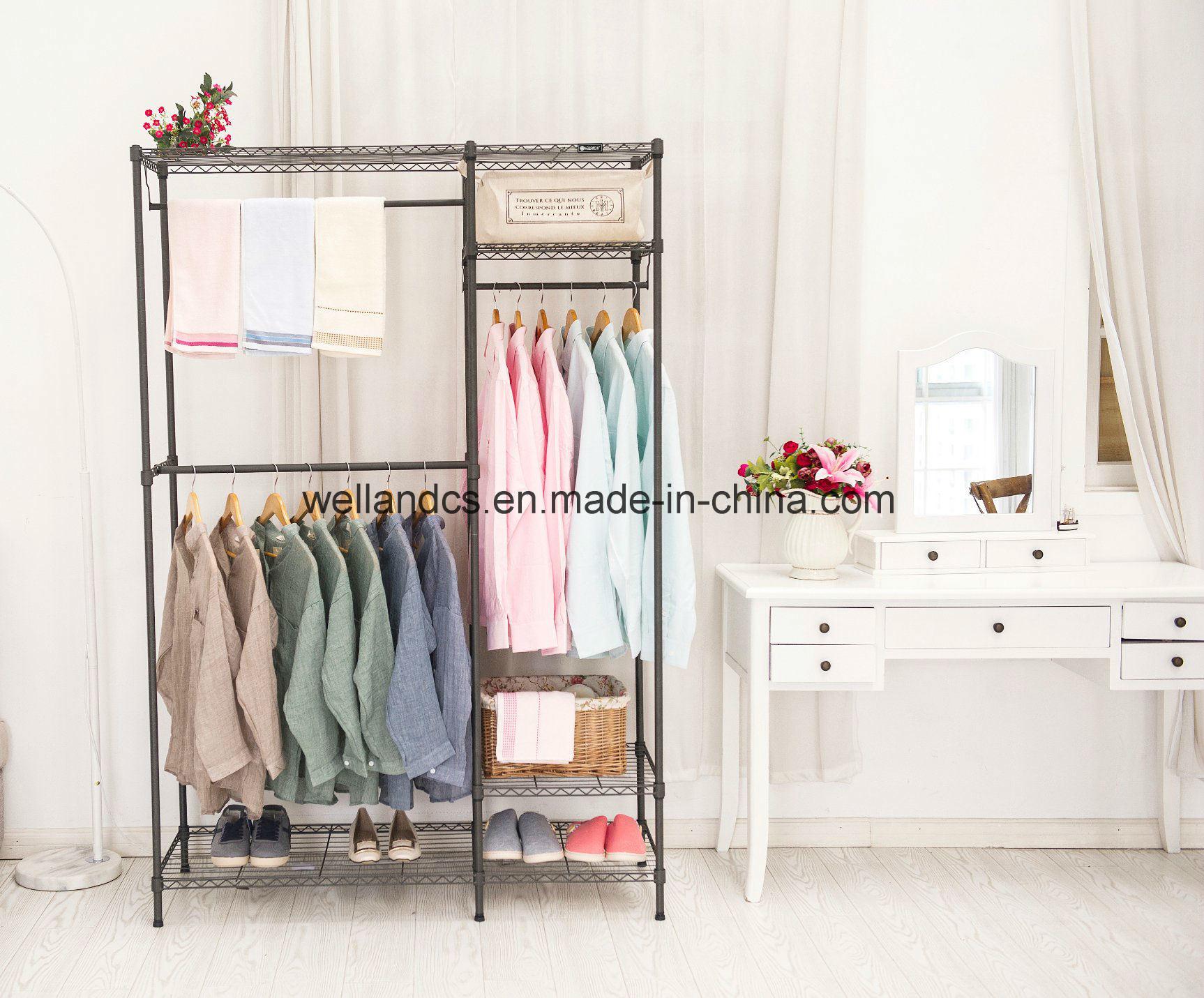 China Portable Non Woven Canvas Diy Cloth Wardrobe Storage 4 Shelves