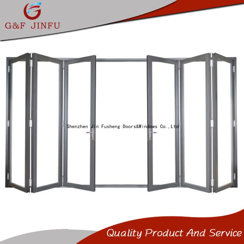 China Tempered Glass Aluminium Exterior Interior Bi Folding Panel