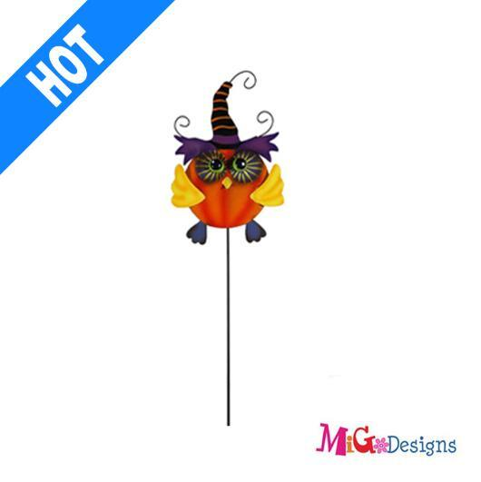 Special Owl Halloween Metal Garden Stake Outdoor Art