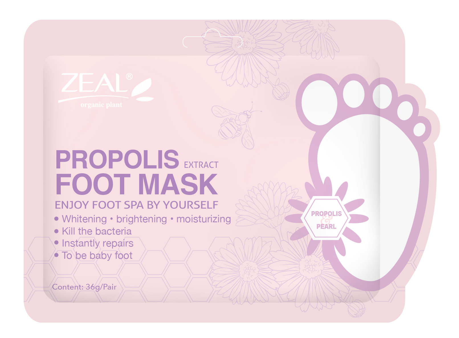 Zeal Propolis & Pearl Whitening & Brighten Foot Mask Cosmetic