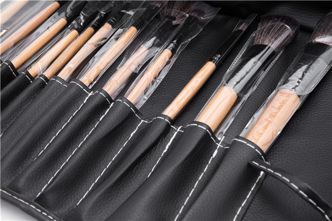 Professional 12PCS Face Makeup Brush Set with Black Leather Bag