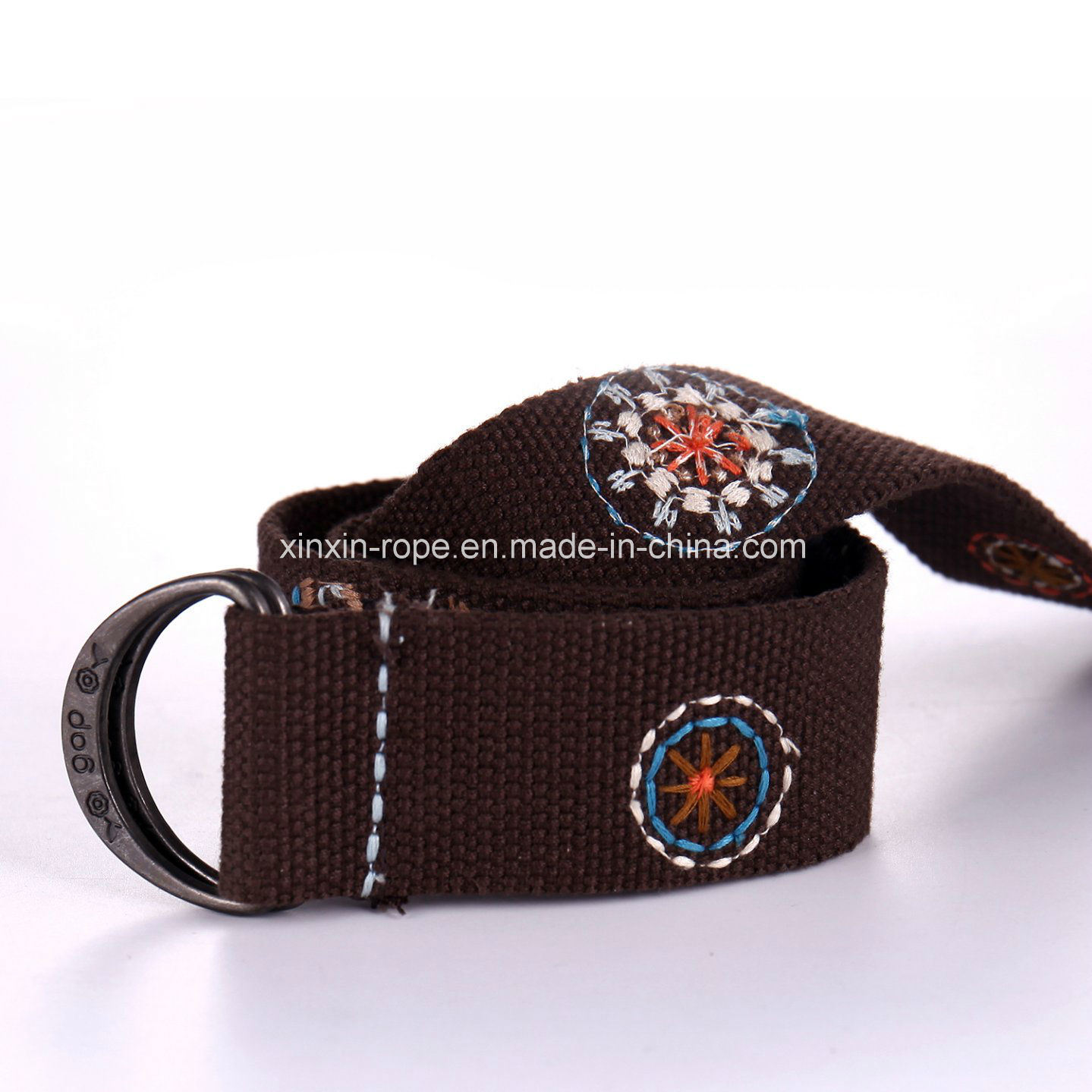 Polyester Customize Braided Woven Double-Ring Buckle Webbing Belt for Adult