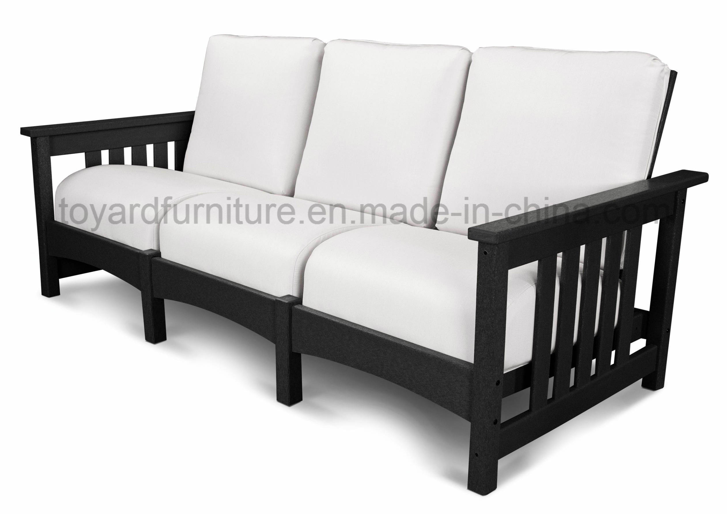 [Hot Item] Top Quality Modern Simply Design Wooden Frame Outdoor Garden  Furniture 3-Seaters Sofa for Hotel Club