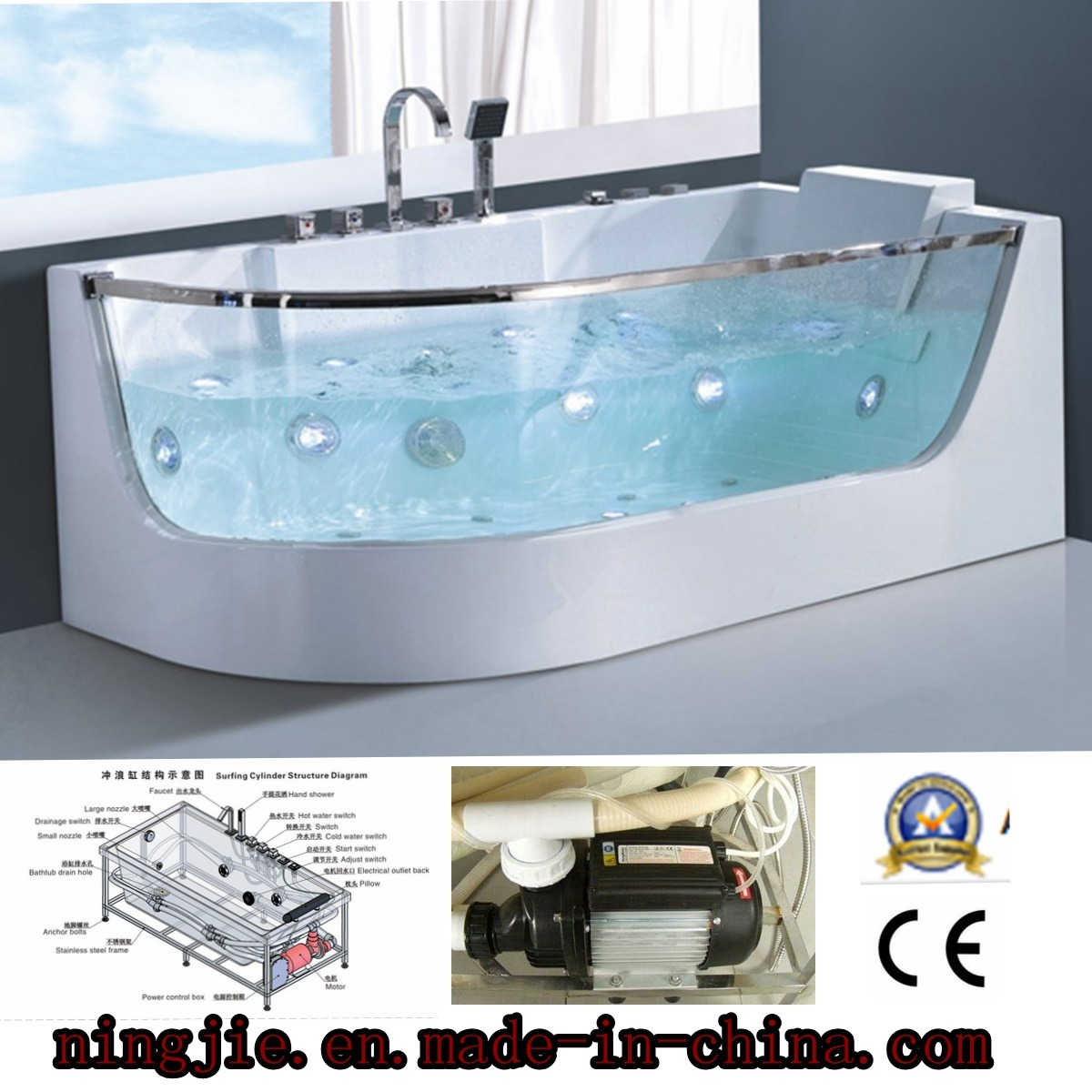 China Beauty Glasses LED Bubble Whirlpool Bath Tub (5407) - China ...