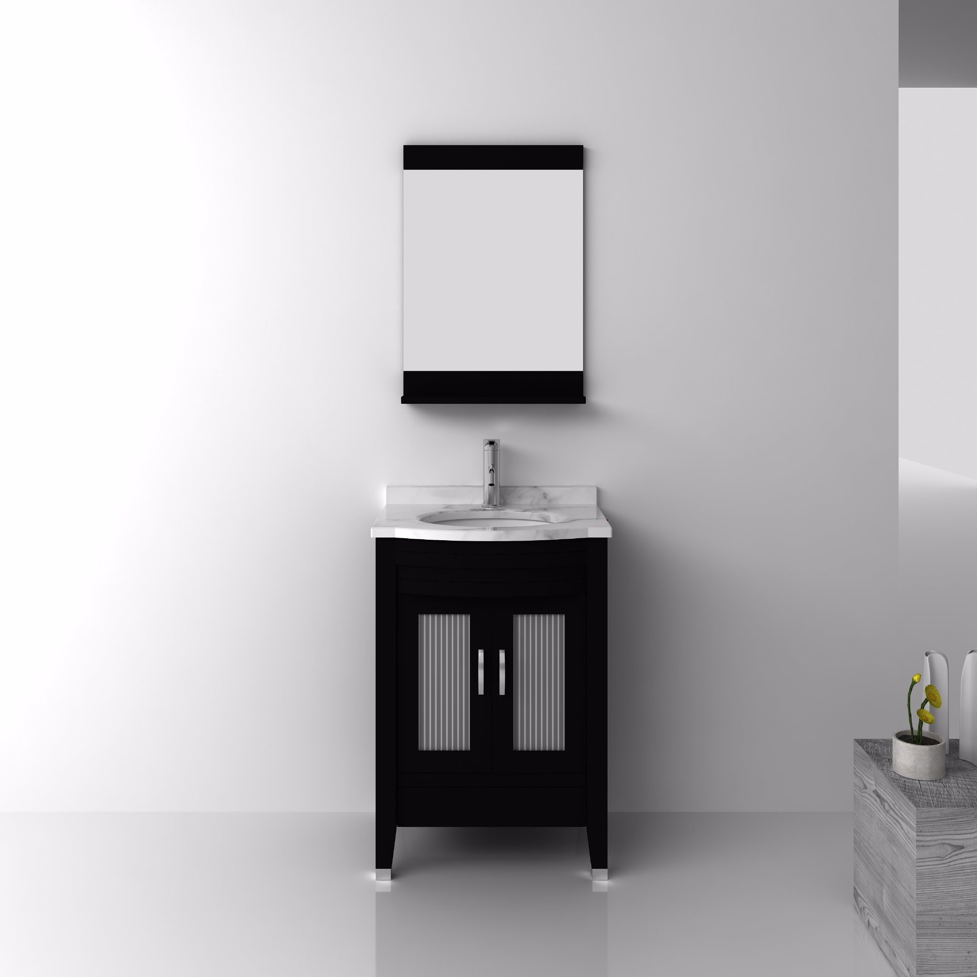 China Solid Wood Bathroom Cabinet with Ceramic Basin and Mirror ...