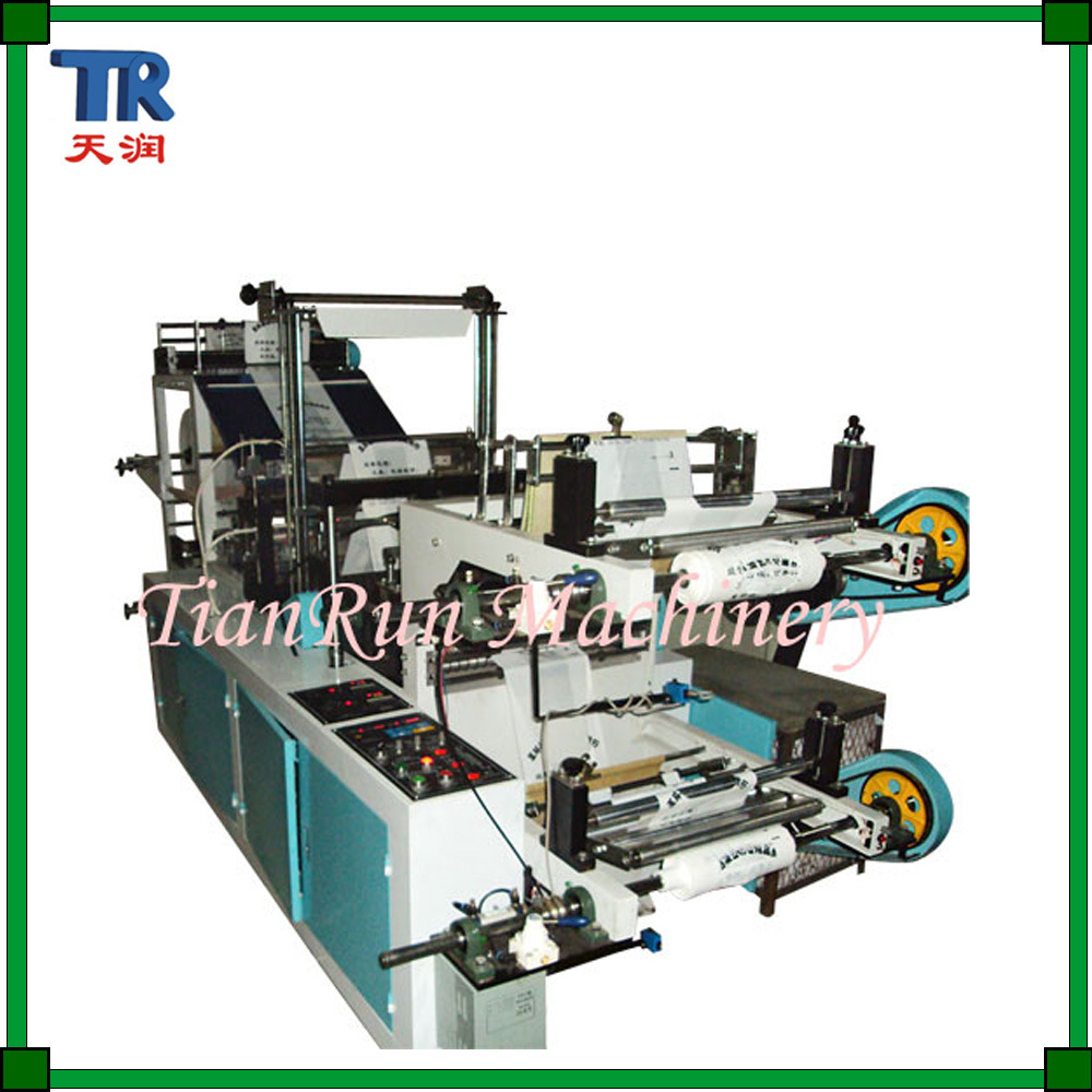 Double-Layer Continuous-Rolled Flat & T-Shirt Bag Making Machine
