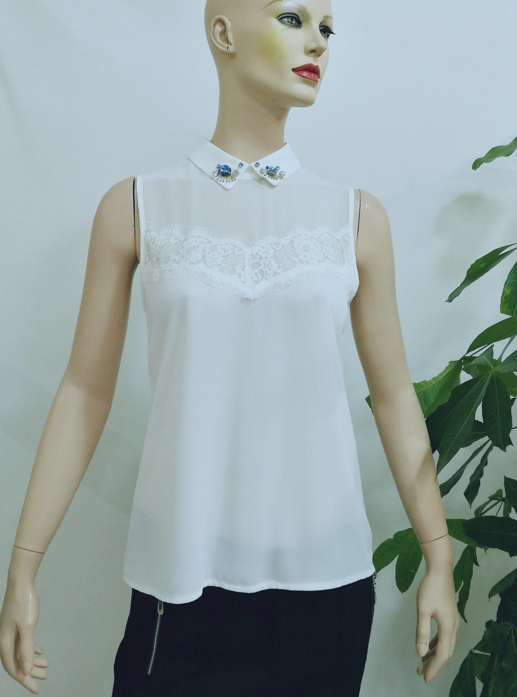 63fcaeef54b1cf China 2017 Blouse Women Summer White Peter Pan Collar Sleeveless Beaded  Latest Blouse Design - China 2017 Blouse Women Summer, Blouse Summer