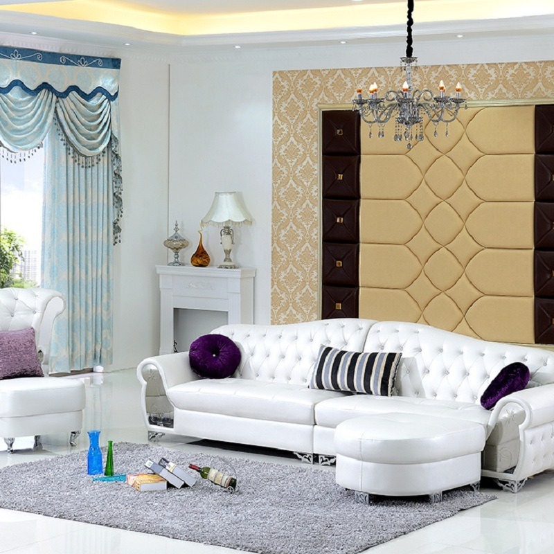 Modern European Style Living Room Leather Corner Sofa