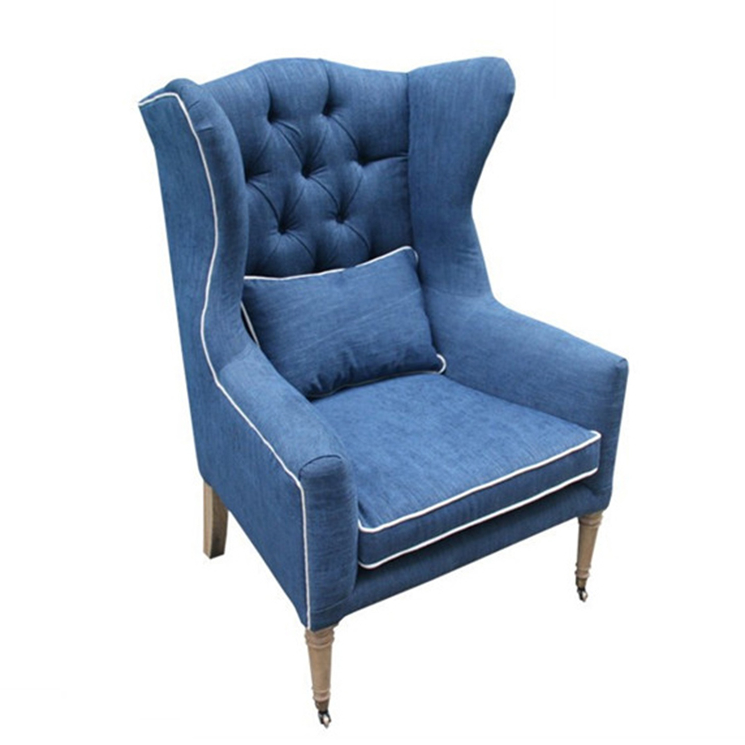 [Hot Item] Navy Blue Tufted Linen Living Room Chair Furniture