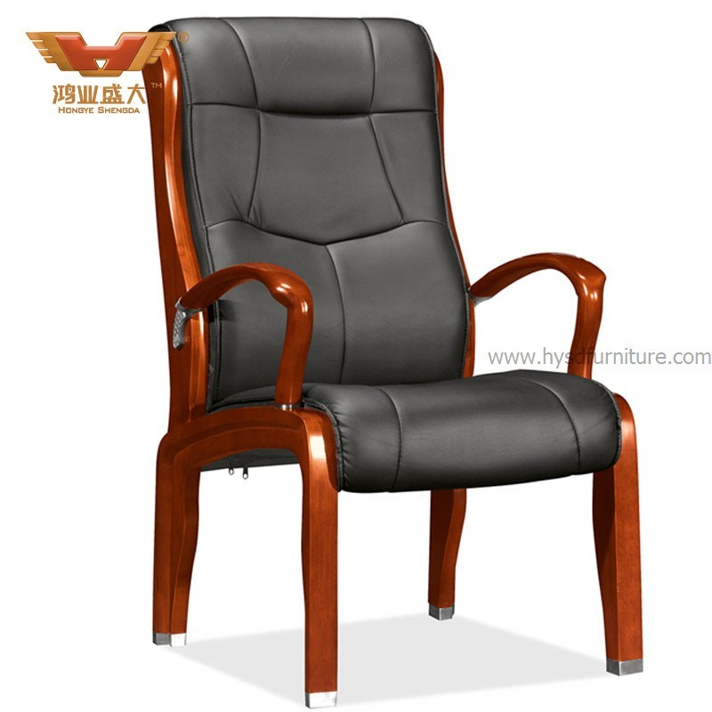 China Tranditional Wooden Leather Office Chair D 306