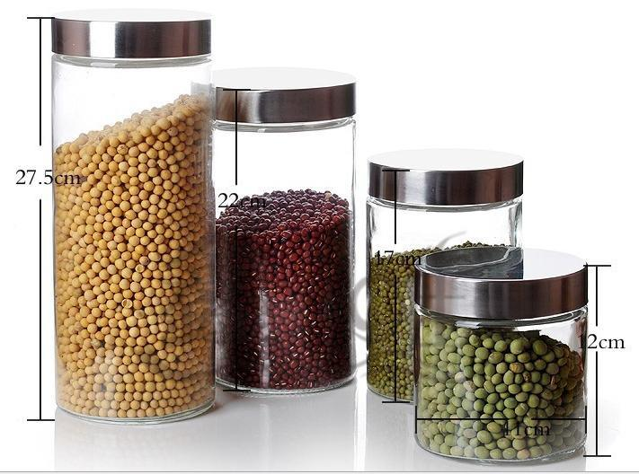 China Glass Food Storage Jar with Stainless Steel Lids China Food