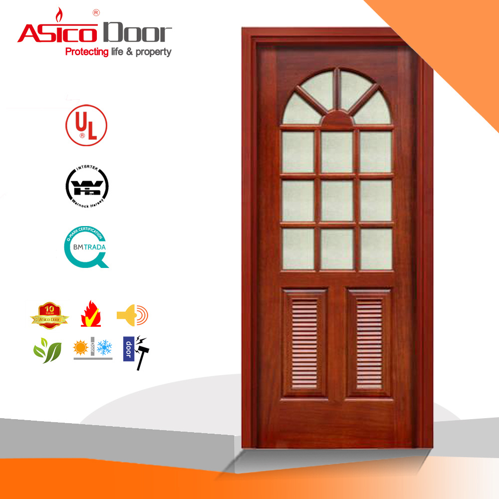 China Timber Door Wooden Door Glass French Door With Vision Panel