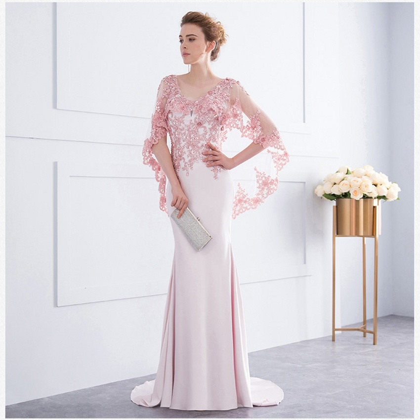 e8c5d44ea2ff China 2018 Mother of The Bride Formal Gowns Pink Red Lace Shawl Evening  Dresses Z7011 - China Evening Dresses, Ball Gowns