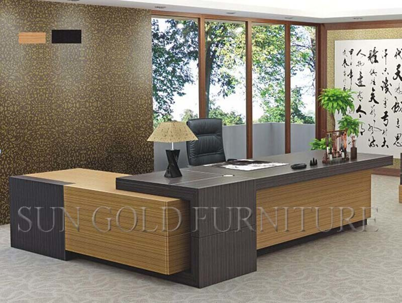 Modern Office Furniture L Shaped Teak Wood Desk Sz Odt678