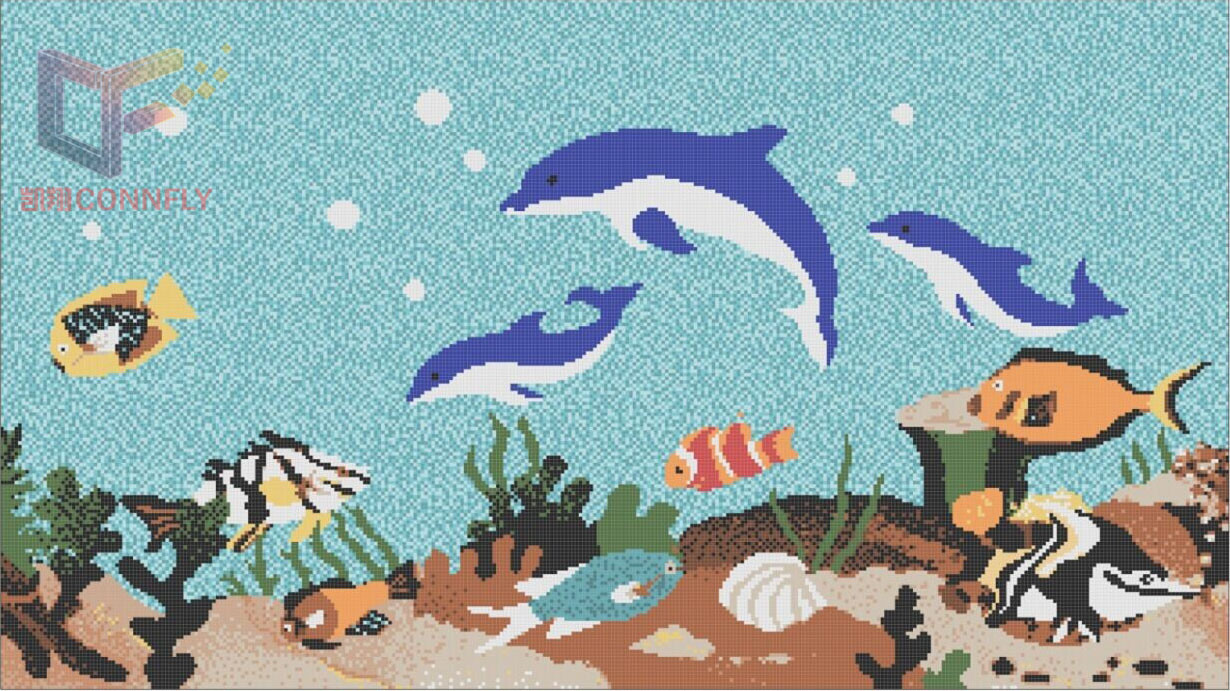 [Hot Item] Fish and Flower Art Mosaic Pattern Glass Swimming Pool Mosaic  Tile