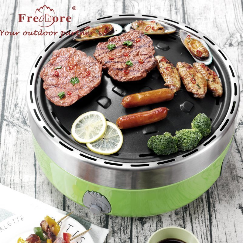 China Bright Green Korean Charcoal Electric Grills Indoor Outdoor With Heat Resistance Travel Smokless Grill