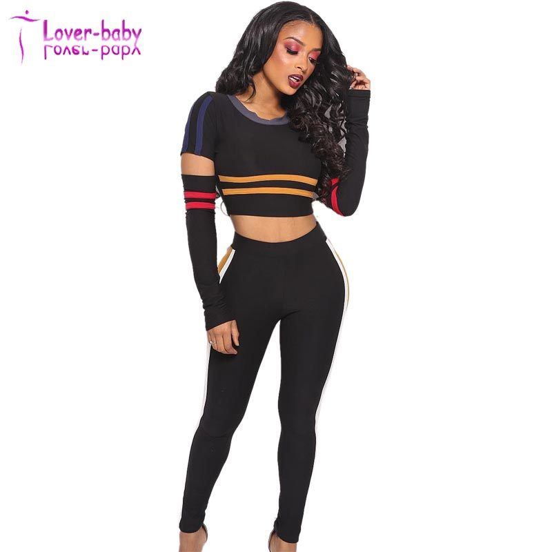 b6a24f64fd292 China Black Strippes Ripped Crop Top and Pants - China Top and Pants ...