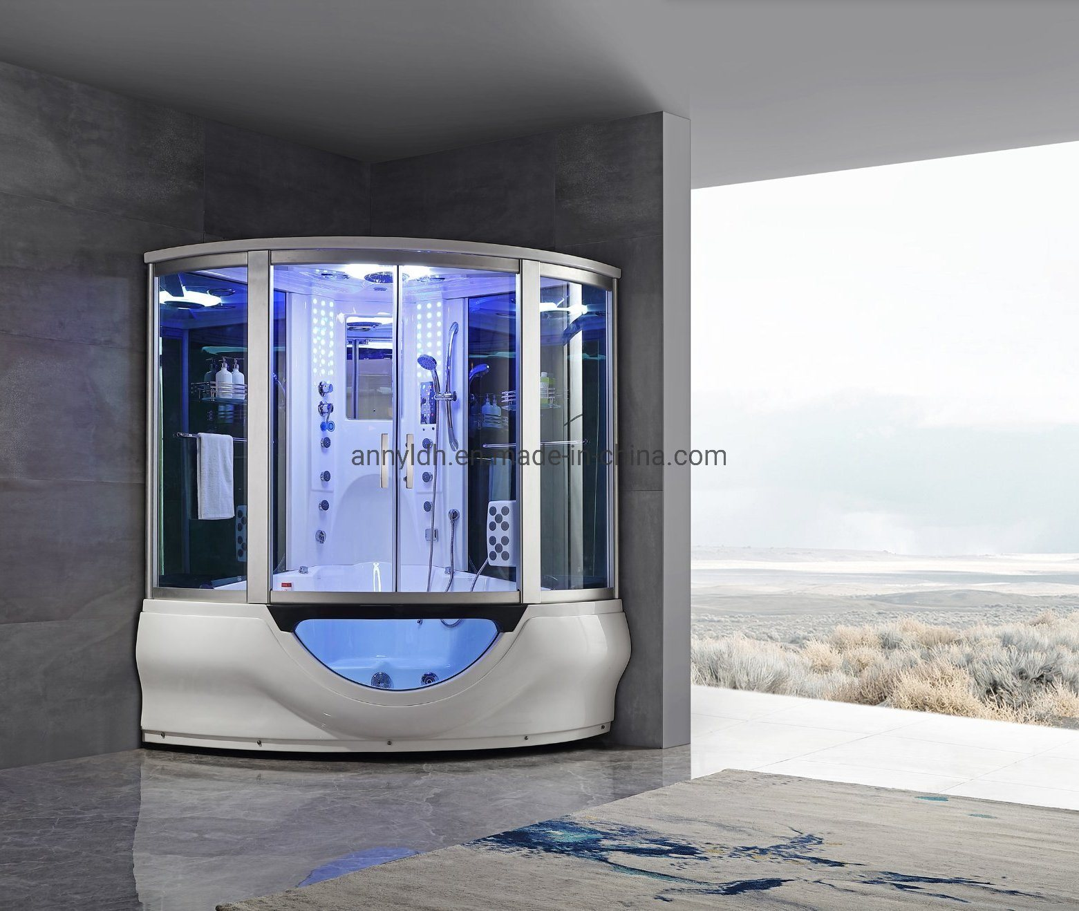 Hot Item Woma Two Person Steam Shower Luxury And Large Shower Combo Steam Room With Massage Function Y840