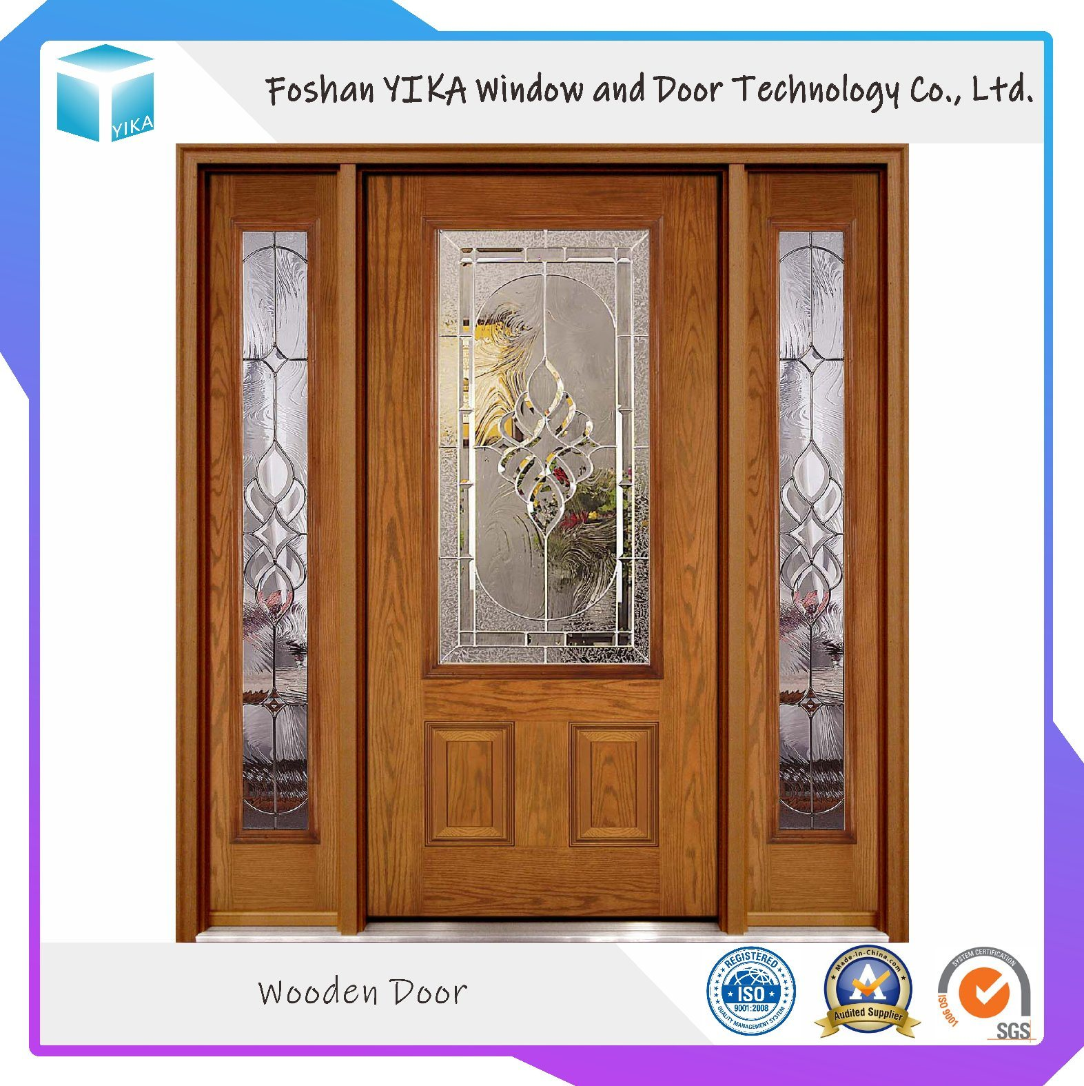 Top Quality Solid Wood Front Door With Glass Design China Wooden