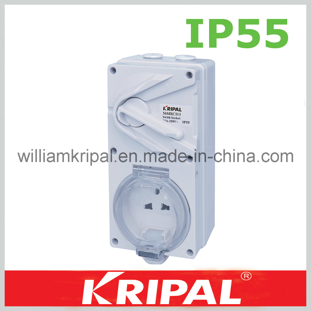 China Ip55 13a 3pin Weatherproof Switched Socket