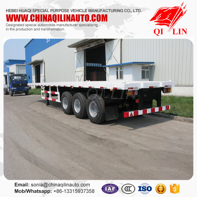 Tri-Axle 40FT Flatbed Trailer with 385/65r22.5 Tyre pictures & photos