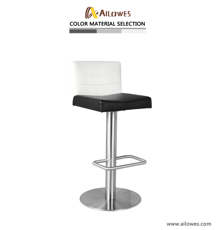 Superb Hot Item Black And White Pu Seat Stainless Steel Metal High Back Bar Stool Forskolin Free Trial Chair Design Images Forskolin Free Trialorg