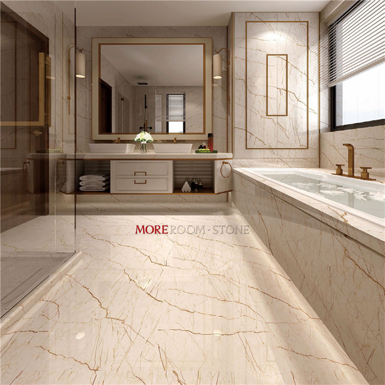 China Gold Vein Beige Marble Porcelain
