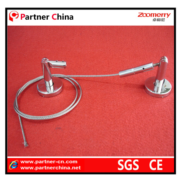 Stainless Steel Adjustable Curtain Rod with Wire Cable (14-002)