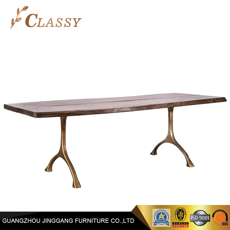 China Rectangular Shape Wood Top Dining Room Table With Metal Base
